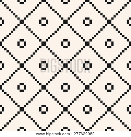 Square Grid Seamless Pattern. Vector Abstract Geometric Black And White Texture With Crossing Lines,