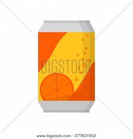 Orange Soda Can Illustration. Drink, Soda, Market Place. Food Concept. Vector Illustration Can Be Us