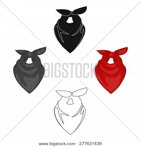 Cowboy Bandana Icon In Cartoon Style Isolated On White Background. Rodeo Symbol Stock Vector Illustr
