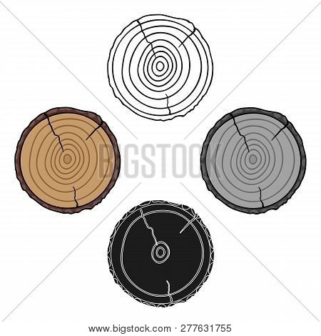 Cross Section Icon In Cartoon Style Isolated On White Background. Sawmill And Timber Symbol Stock Ve