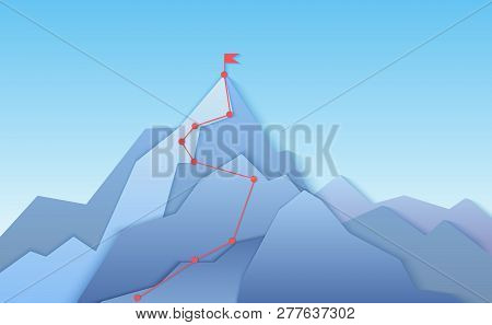 Mountain Climbing Route To Peak Landscape. Climbing Pointed Road To Layered Paper Style Mountain Top