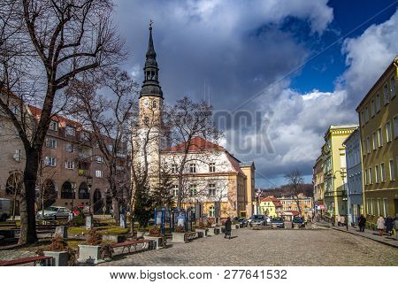 Bolkow, Poland, February 26,2012: The Market Square Of The Old Town With The Historic Town Hall.