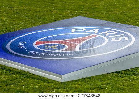 Belgrade, Serbia - December 11, 2018; Psg Logo On A Football Field Up On A Uefa Champions League Mat