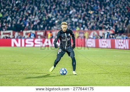 Belgrade, Serbia - December 11, 2018; Neymar Da Silva Santos Junior Playing On A Uefa Champions Leag