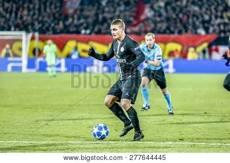 Belgrade, Serbia - December 11, 2018; Marco Verratti Playing On A Uefa Champions League Match Red St