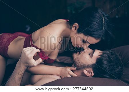 Close Up Side Profile Photo Of Two People Pair Romance Make Love In Hotel Room On Vacation She Her H