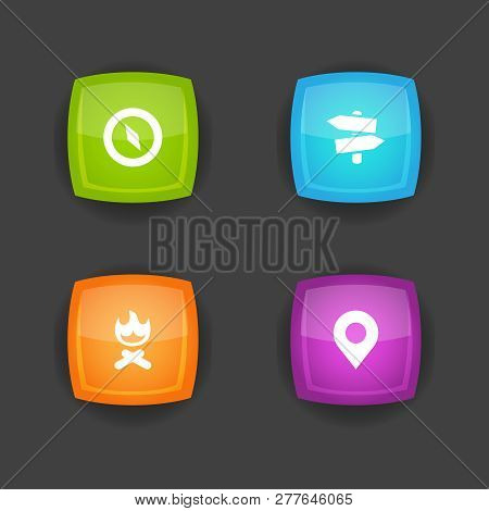 Set Of 4 Outdoor Icons Set. Collection Of Guidepost, Place Pointer, Compass And Other Elements.
