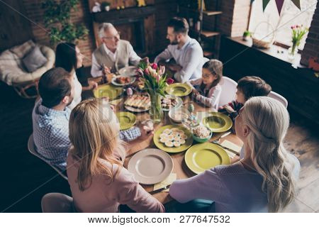 Above High Angle View Of Cheerful Family Small Little Brother Sister Sitting Enjoying Event Party Ha