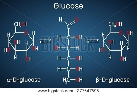 Glucose (dextrose, D-glucose) Molecule. Сyclic And Acyclic Forms. Structural Chemical Formula On The