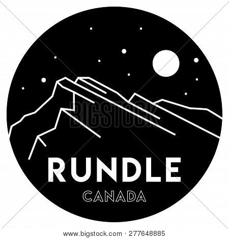 Mount Rundle. Canadian Rockies. Mountains In Canada. Vector Black And White Illustration. Travel And