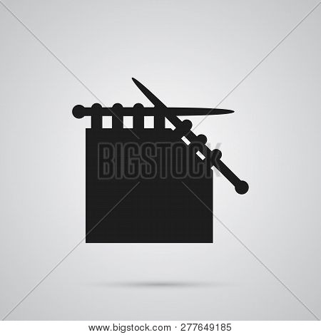 Isolated Knit Needle Icon Symbol On Clean Background. Vector Needlework Element In Trendy Style.
