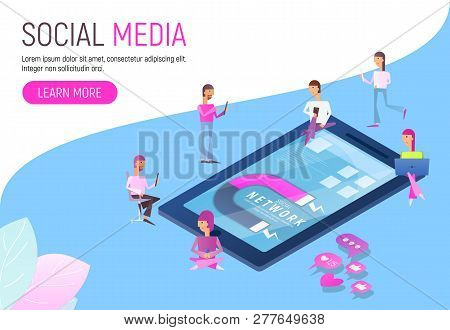 Modern Flat Design Concept Of Social Media With Characters -  Followers Follow Social Trend Near Big