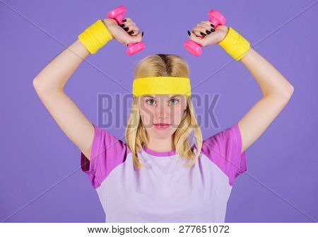 Biceps Exercises For Women Step By Step Guide. Girl Hold Dumbbells Wear Wristbands. Sport And Fitnes