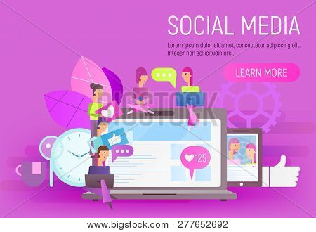 Social Network Concept. Young People Using Mobile Gadgets - Laptop And Smartphone For Social Network