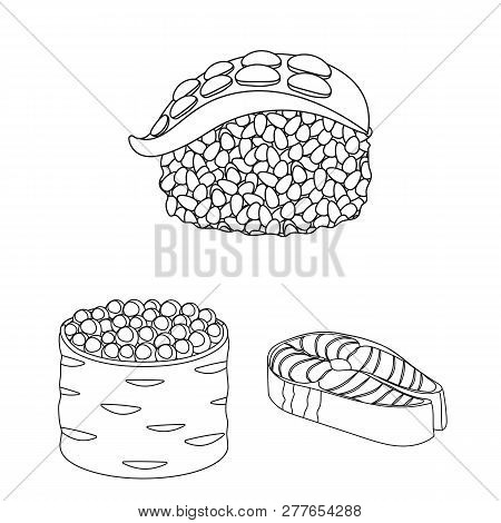 Vector Design Of Sushi And Fish Logo. Collection Of Sushi And Cuisine Stock Symbol For Web.