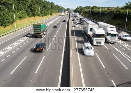 Nottingham, Uk - August 23, 2016.  An Aerial View Of The Busy M1 Motorway In Uk With Speeding Traffi