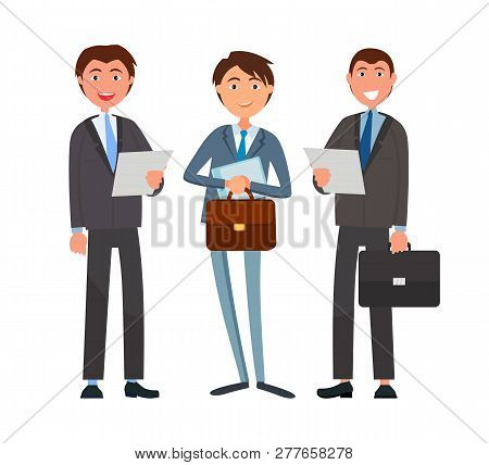 Business Affairs, Businessmen Holding Documents Vector. Partners Looking At Details Of Contract, Dea