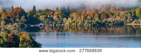 Panorama Of Cloud Over Derwent Water Lake In The Lake District Cumbria With Autumn Colours And Clear