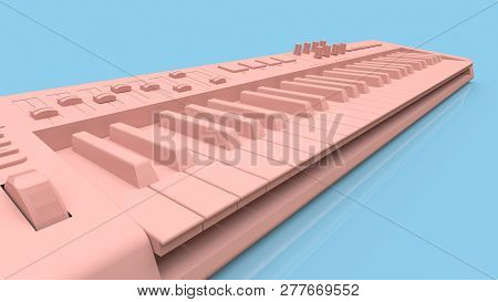 Pink Synthesizer Midi Keyboard On Blue Background. Synth Keys Close-up. 3d Rendering.