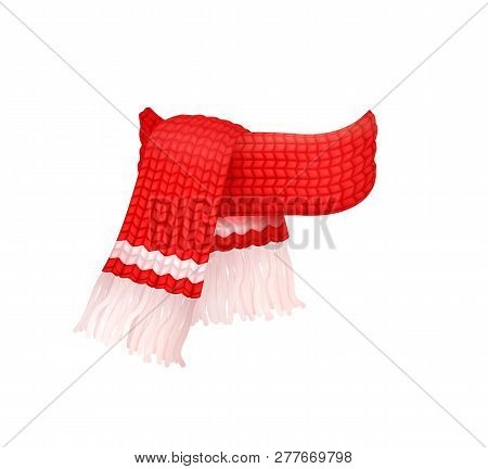 Red Knitted Scarf With White Woolen Threads Isolated Vector Icon. Winter Cachemire Fashion Handmade