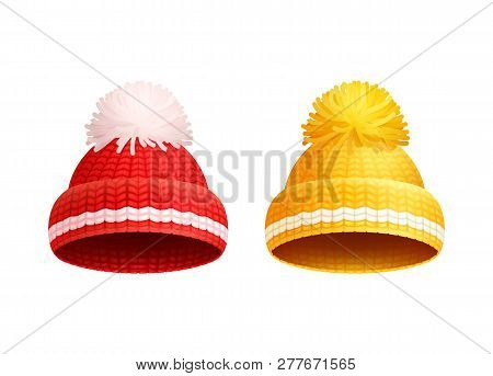 Knitted Red And Yellow Hat With White Pom-pom Vector Icons. Warm Headwear Items, Winter Cloth Thick