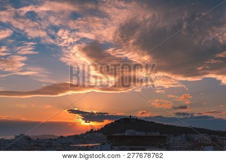 Aerial View Of Philopappou And Koukaki At Gorgeous Sunset In Athens, Greece