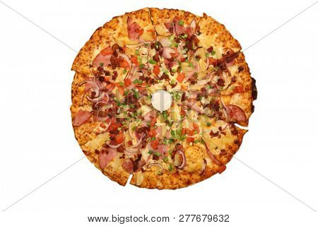 Pizza. Hawaiian Pizza. Pineapple Pizza. Pizza with pineapple, ham, onions, cheese, tomatoes, bacon, and sauce.  isolated on white. Room for text.