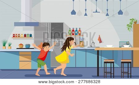 Children Hurrying For Breakfast Flat Vector. Happy Boy And Girl Running And Playing In Spacious Kitc