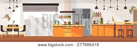 Modern Kitchen Spacious Interior Design Cartoon Vector Panoramic Illustration With Chairs Around Din
