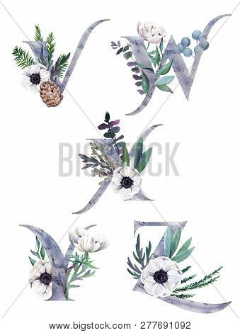 V, W, X, Y, Z. Decorative Floral Alphabet With Silver Letters And Watercolor Botanical Decoration.