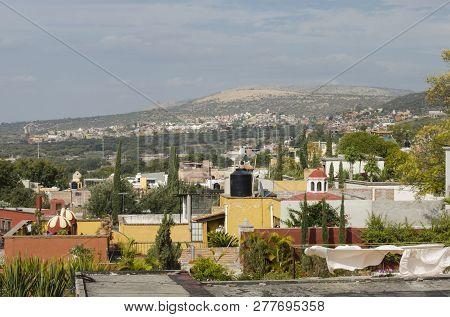 Aerial View Of Houses In San Miguel De Allende, Guanajuato, Mexico. Urban Landscape At San Miguel De