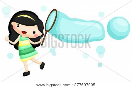 A Girl Playing With A Big Bubble Blower