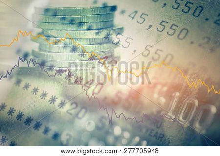 Double Exposure Of Coins And Bookbank With Graph And Credit Card, For Business And Finance Backgroun