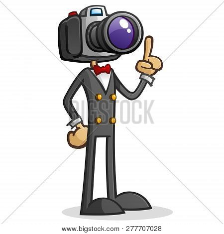 Camera Head Paparazzi Cartoon Character With A Dslr For A Head With A Real Eye For Composition