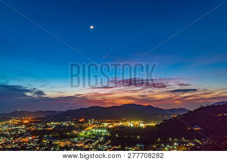 Aerial View During Sunset At Khao Rang The Landmark Viewpoint Of Phuket Place In The Central Of Phuk