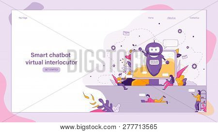 Illustration Smart Chatbot Virtual Interlocutor. Banner Vector Image Online Technical Support Compan