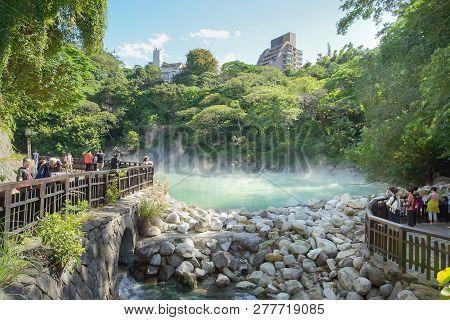 Taipei, Taiwan - November 24, 2018: The Famous Beitou Thermal Valley In Beitou Park, Taipei City, Ta