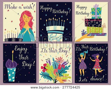 Birthday Cards Set. Birthday Cake With Candles And Congratulations Lettering. Girl Making A Wish. Ha