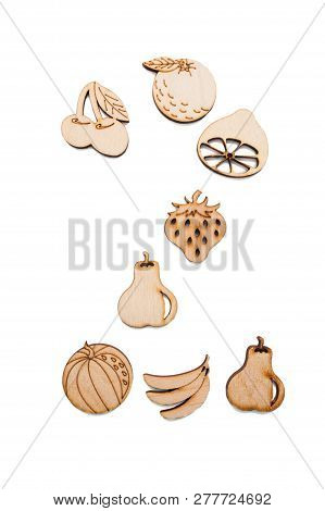 Wooden Toy Fruit In The Form Of Number 2. Shaped In Number Two 2