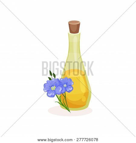 Glass Bottle Of Linseed Oil And Blue Flax Flowers. Organic Product. Natural Cooking Ingredient. Flat