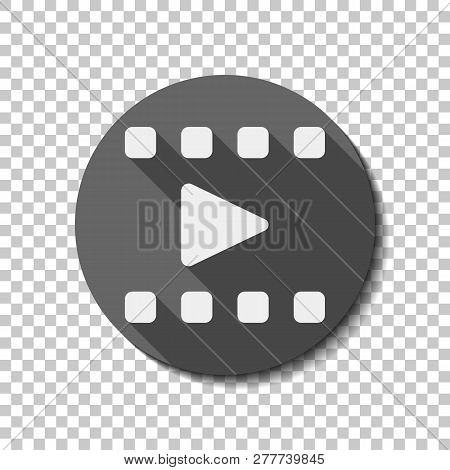 Play Movie, Watch Film, Photo Strip, Media Icon. Flat Icon, Long Shadow, Circle, Transparent Grid. B