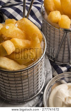 French Fries In A Serving Basket, Served With Home Made Mayonnaise