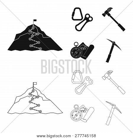 Isolated Object Of Mountaineering And Peak Symbol. Collection Of Mountaineering And Camp Stock Symbo