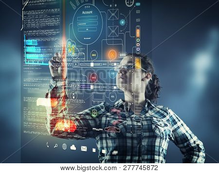 Woman Pressing On A Touch Screen With Infographs And Data.futuristic User Interface.
