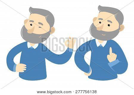 Gray Hair Man Gesticulates, Ok Gest Good Idea Gest