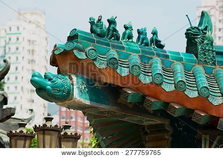 Hong Kong, China - September 14, 2012: Traditional Historical Roof Decoration Detail Of The Sik Sik