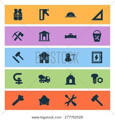 Industrial Icons Set With Miner, House, Ax With Pickax And Other Equipment Elements. Isolated Vector
