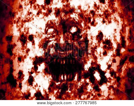 Angry Bloody Ghoul Face. Illustration In Genre Of Horror.