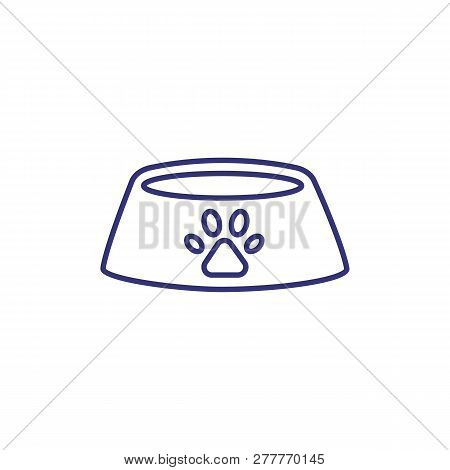 Bowl For Pets Line Icon. Pet Food, Cat Accessory, Dog Snack. Veterinary Concept. Vector Illustration