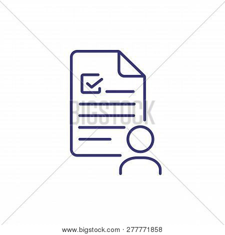 Job Candidate Line Icon. Person, Worker, Employee, Profile, Curriculum Vitae. Career Concept. Vector